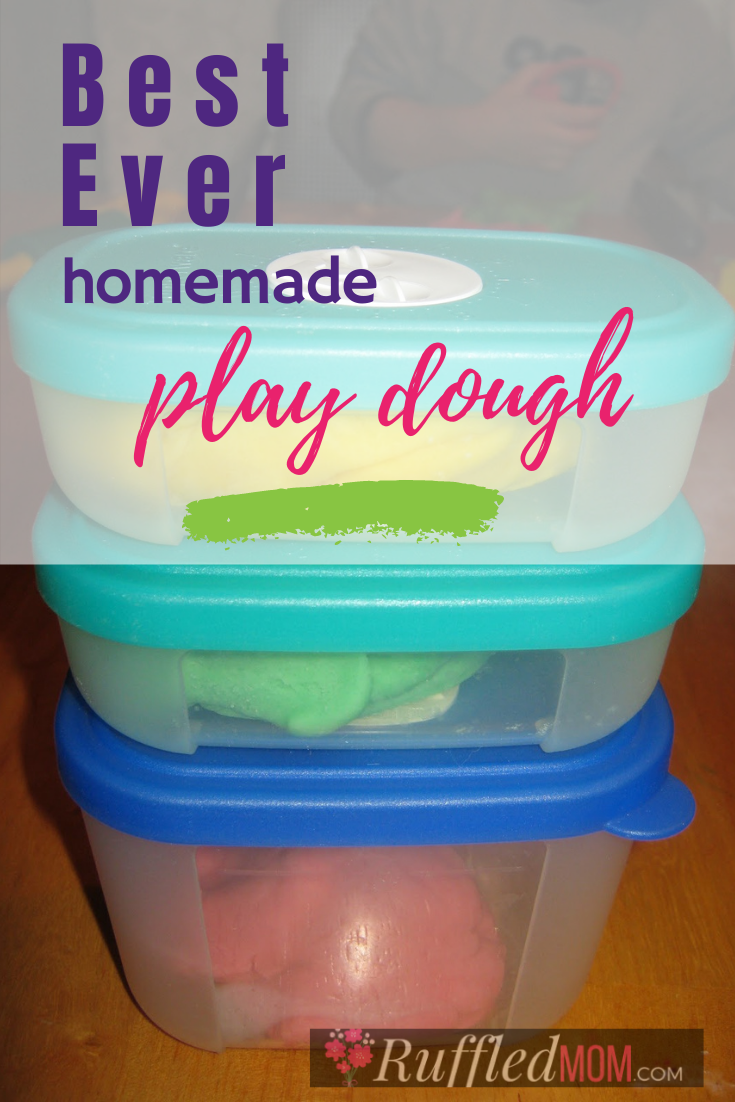 This is hands down the best homemade play dough and it is so easy to make!  It can be stored for weeks in an airtight container or plastic bag.  Your kids will enjoy molding fun shapes and other designs with this great dough!  And you can make a variety of colors and scents.  #craftymom #craft #crafts #playdough #kidscrafts #thingstodo #ruffledmom